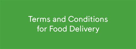 Terms And Conditions For Food Delivery