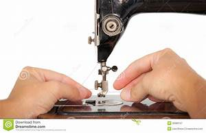 Threading A Vintage Sewing Machine Royalty Free Stock ...