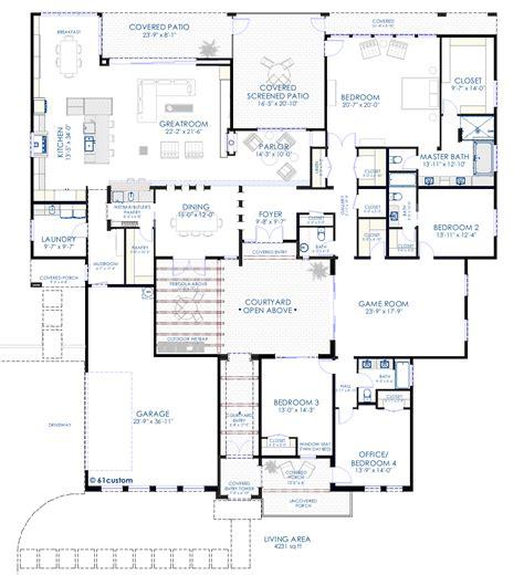 modern home blueprints contemporary courtyard house plan