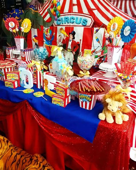 Carnival Birthday Decorations - the dessert table at this circus carnival birthday