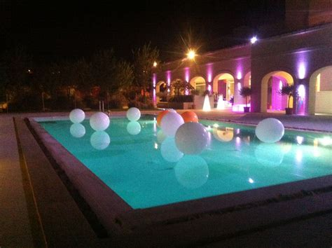 Pool Decoration by White And Touch Of Orange Balloons Pool Decoration My