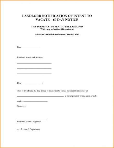 intent  vacate letter template business