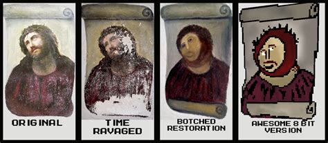 Jesus Painting Restoration Meme - pin jesus painting restoration gone terribly wrong mr beans style of on pinterest