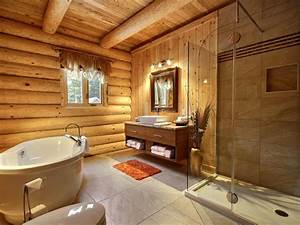 awesome salle de bain chalet bois rond images awesome With armoire salle de bain bois