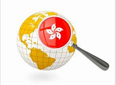 Magnified flag with globe Illustration of flag of Hong Kong