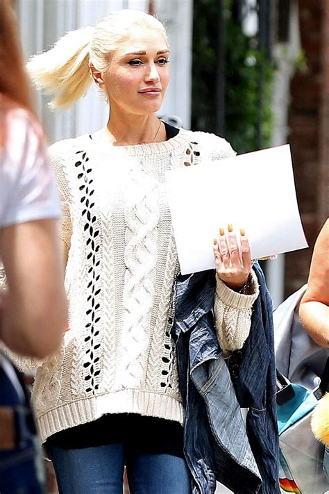 Gwen Stefani in a Cable Knit Sweater - Westwood in LA 07 ...