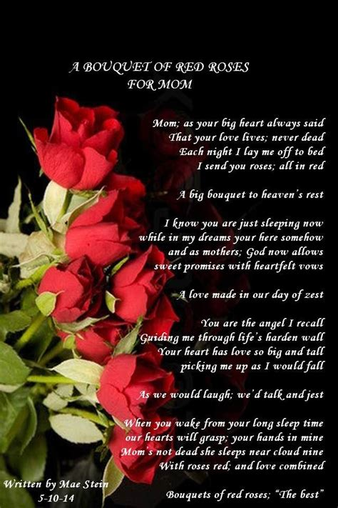 bouquet  red roses  mom mothers day poems