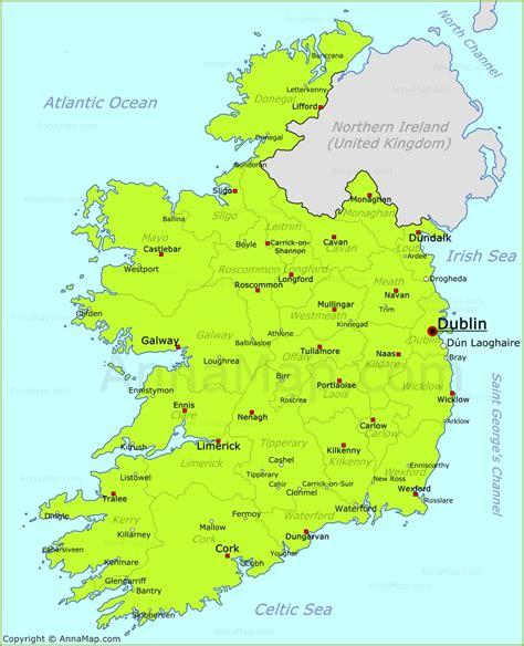 ireland map map  republic  ireland  cities