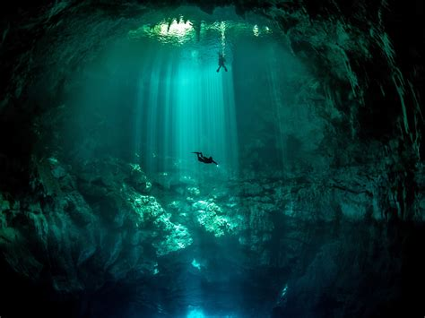 beautiful underwater cavern vista   beneath