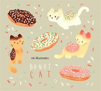 Donut Cat Kawaii Cream Ice Cats Doodles