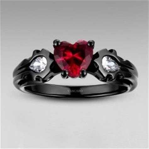 warcraft horde black ring with heart cut synthetic ruby women s engagement ring