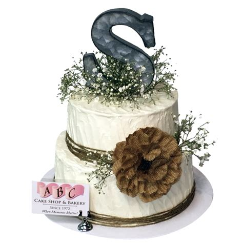 2130 2 Tier Rustic Cake With Babys Breath And Burlap Rose
