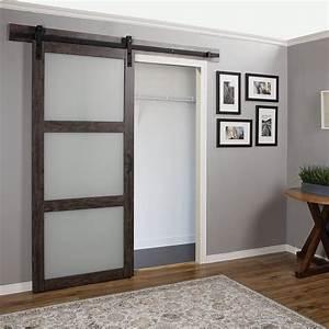 Erias Home Designs Continental Frosted Glass 1 Panel Ironage Laminate Interior Barn Door Wayfair