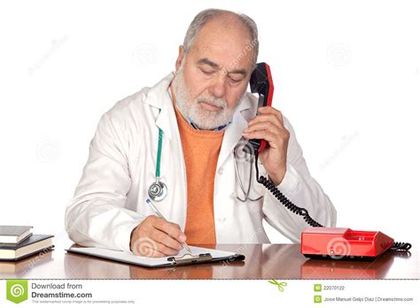 the phone doctor family doctor talking on the phone stock photography