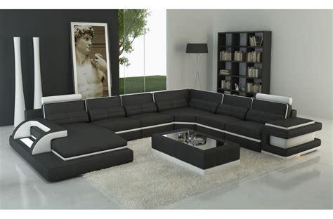 canapé cuir de qualité canapé d 39 angle en cuir italien 7 8 places bestof noir et blanc mobilier privé