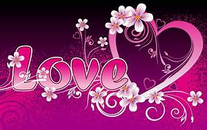 pink love heart - pink and purple Wallpaper
