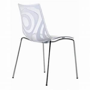 Chaise Design Blanche : chaise design transparente et blanche wave a achat vente chaise cdiscount ~ Teatrodelosmanantiales.com Idées de Décoration