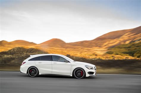 Sporting seats with red stitching support well and there are other red details in the cabin, such as around the. Mercedes-AMG CLA 45 Shooting Brake (X117) specs & photos - 2015, 2016, 2017, 2018, 2019, 2020 ...