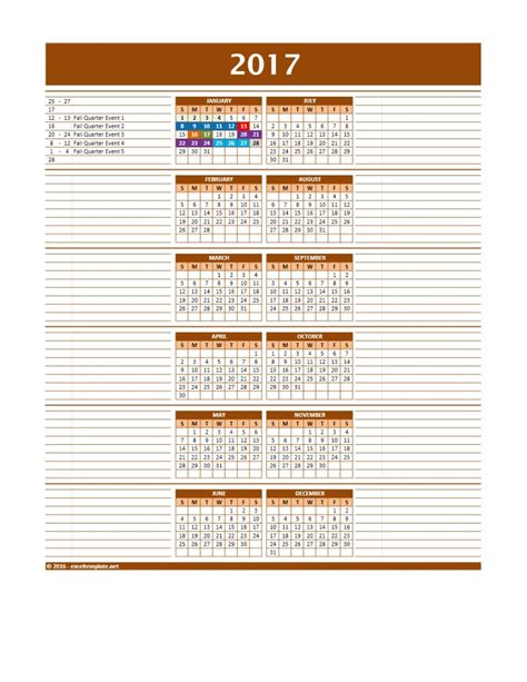 2017 Calendar Template Excel 2017 And 2018 Calendars Excel Templates