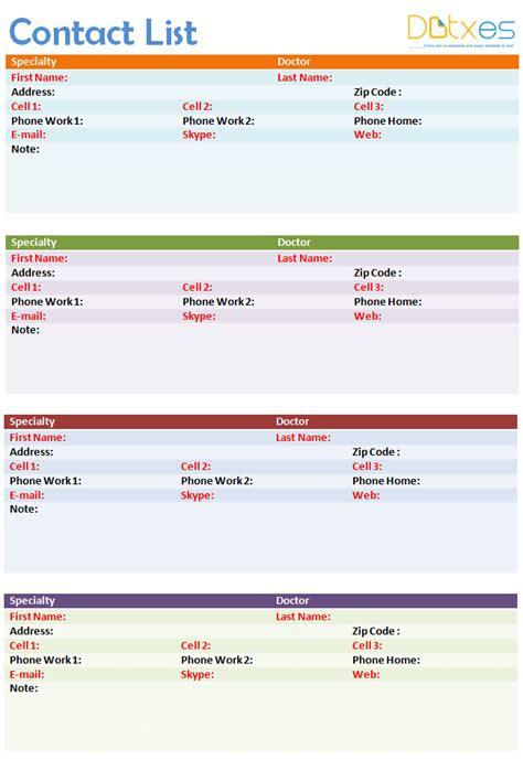 contact list template   page dotxes