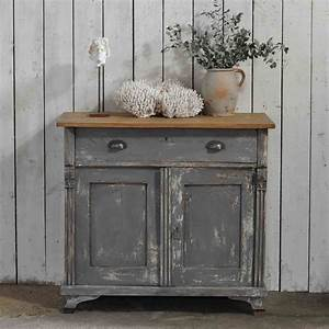 Vintage Distressed Dark Grey Hand Painted European Cupboard