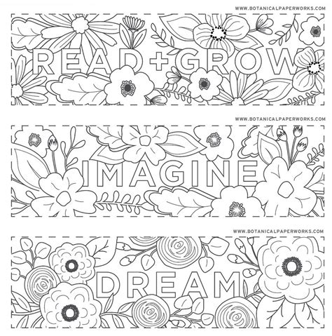 bookmarks to color free printables read grow coloring bookmarks for back