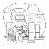 Welder Cartoon Coloring Saldatura Profession Welds Structures Construction Character Colorazione Pagina Della Maschera Salda Tubo Saldatore Vettore Nel Illustrations Illustrazione sketch template