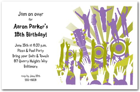 concert crowd guitars speakers party invitations