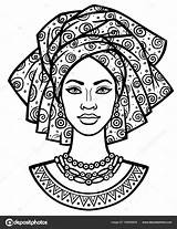 African Vector Turban Portrait Drawing Illustration Animation Young Coloring Linear Shirt Monochrome Shutterstock Melanin Vectors Africana Africanas Isolated Poster Card sketch template