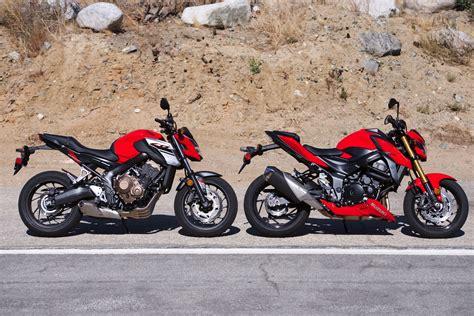 Suzuki Vs Honda by 2018 Sport Motorcycle Comparison Honda Cb650f Vs Suzuki