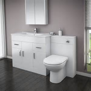 White Gloss Vanity Units by Turin High Gloss White Vanity Unit Bathroom Suite W1500 X