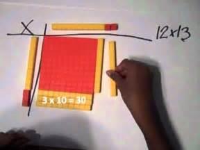 multiplication  base ten blocks youtube