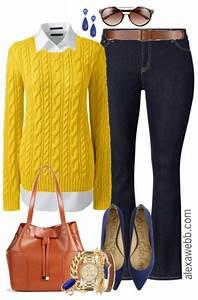 Plus Size Yellow Sweater Outfit - Alexa Webb