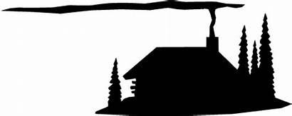 Cabin Silhouette Clip Lodge Rustic Clipart Cottage