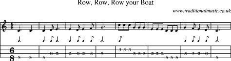 Row Your Boat Tab by Mandolin Tab And Sheet For Song Row Row Row Your Boat
