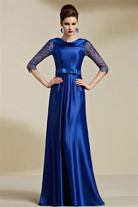 high neck   satin royal blue long dress  sleeves