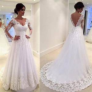 White vintage wedding gowns lace long sleeve open back a for Long white wedding dresses