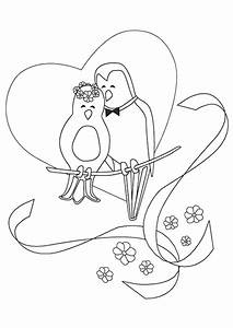 Dessin Couple Mariage Noir Et Blanc : un mignon couple d oiseaux tr s amoureux et entour de ~ Melissatoandfro.com Idées de Décoration