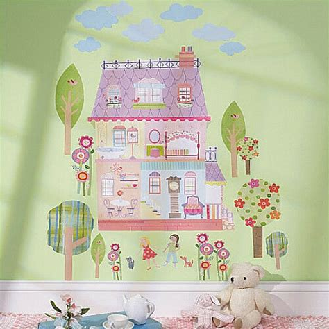 wallies play house dollhouse wall stickers mural  decals