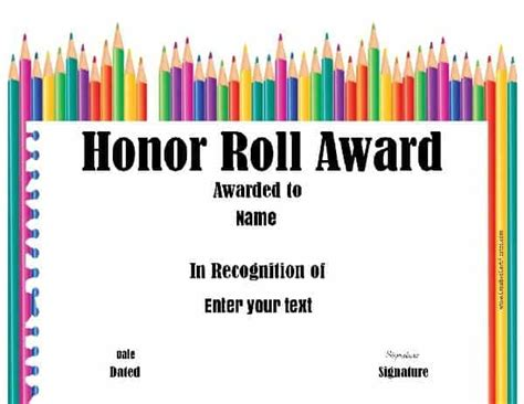 A B Honor Certificate Template