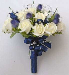 Ivory Rose Blue Thistle Brides Wedding Bouquet With