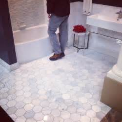 5 inch hexagon carrara marble tile bathroom floor park ave powder tile and