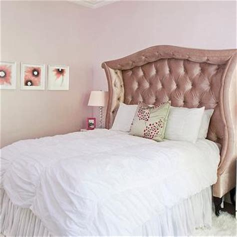 pink tufted bed eclectic bedroom anne coyle interiors