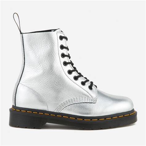 dr martens womens pascal metallic leather  eye lace  boots silver womens footwear
