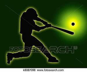 Stock Illustration of Green Back Baseball Batter Hitting