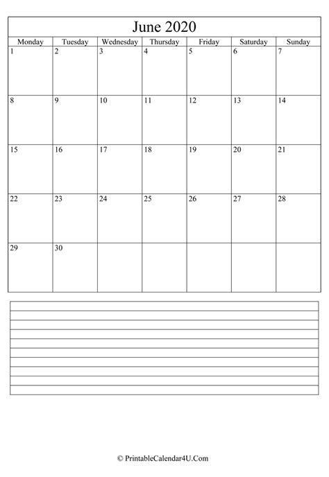 printable june calendar   notes portrait