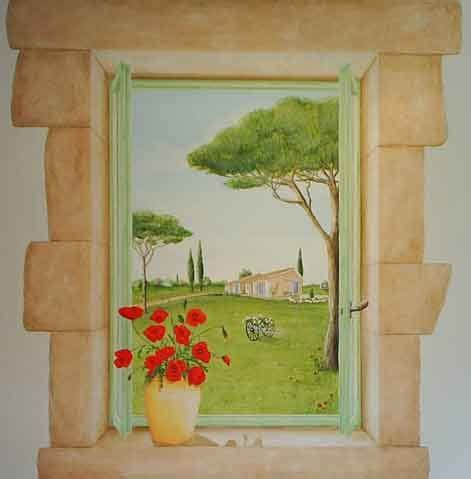 peinture murale trompe l oeil mer images