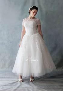 retro 5039s vintage style tea length lace wedding dress With retro 50 s wedding dresses