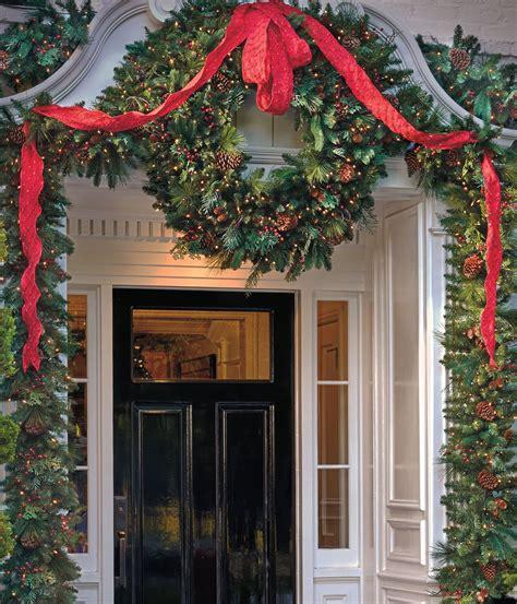 christmas greenery ribbon entry     front