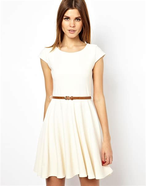 dress with belt a wear textured skater dress with belt in lyst